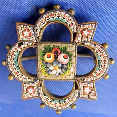 Stunning Antique Beaded Edge Flower Floral Micro Mosaic Brooch By Bc