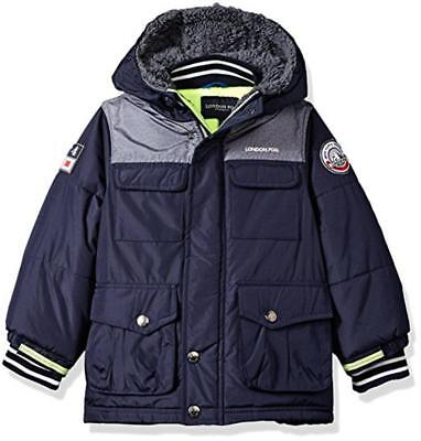 London Fog Boys Navy & Neon Heavyweight Parka Coat Size 2T 3T 4T 4 5/6 7