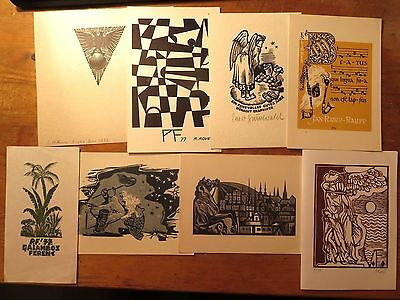 1930s-1950s-1970s Vintage Ex Libris/PF Cards/ Graphic Arts  Job Lot,8 Pieces