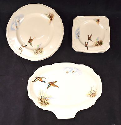 Vintage ALFRED MEAKIN 11 Piece WildFowl Dinner Set  - S42
