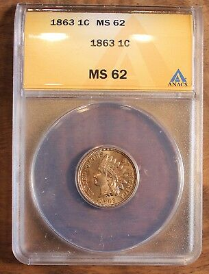 1863 Indian Head Cent ANACS MS 62 US Rare Coin Penny .01 Gem Uncirculated