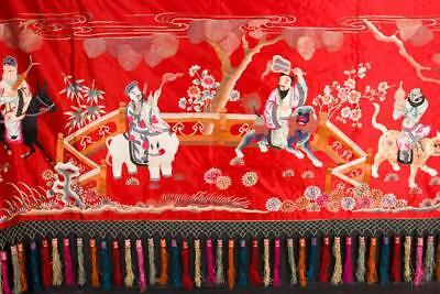 """NobleSpirit {3970} Valuable Chinese Silk Tapestry with Tassels 40x134"""""""