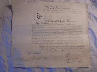 1915 Royal Naval Volunteer Reserve Lieutenant T.l.oliver Commission Document G.v