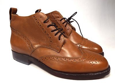 Men's SAMUEL WINDSOR Brown Genuine Leather Brogue Detail Shoes Size UK 9  - W12