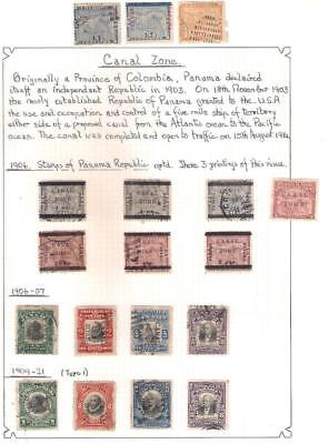 25159 USA CANAL ZONE selection of Early stamps 1906 - 1921 O/Printed