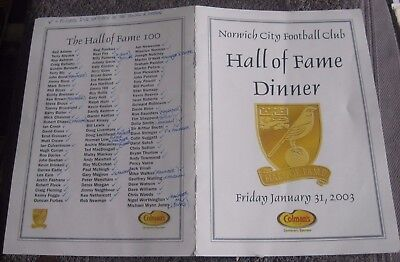 Norwich City F.c. Hall Of Fame Dinner  January 2003