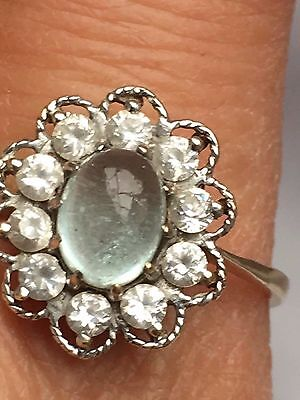 proper hallmark 9k green moonstone with Clear Stone  cluster ring -uk size W ,4g