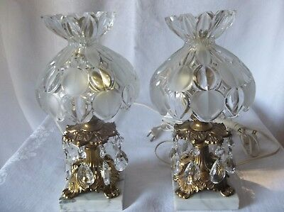 "Vintage  Pair of Brass Marble Glass Shades Bedroom Boudoir 10"" Lamps Prisms"
