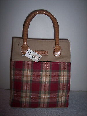 Longaberger Small Tote Shopper Lunch Bag Homestead Orchard Park Plaid~ NWT