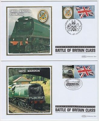 BRITISH RAILWAY 2010 2x BATTLE OF BRITAIN CLASS* official illustrated covers
