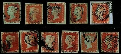 Sg8, 1d red-brown PLATES 118-165 COLLECTION x 11, good used. Cat £500+