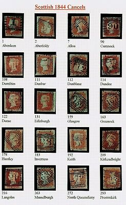 Sg8, 1d red-brown SCOTTISH 1844 POSTMARK COLLECTION, good used.