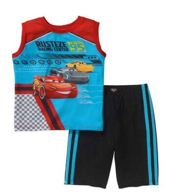Disney Cars RUSTEZE RACING CENTER 2Pc Pajamas Shirt & Shorts Set S 6 - 7 NWT