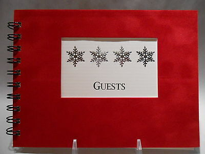 Rustic Lodge Sueded Cover CABIN GUEST BOOK with Silver Snowflakes Pattern