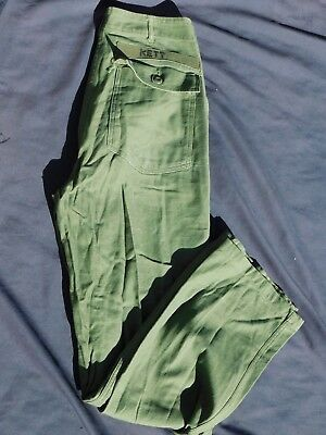 A+ Vietnam US Army USMC Untility Pants Button Fly Cotton OG-107 32 x 33 OD Green
