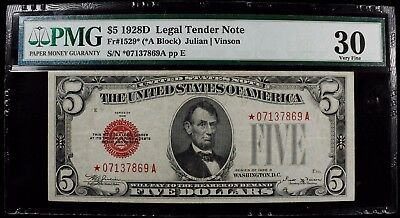 1928 D $5 United States Legal Tender Note Fr #1529 Red Star  Pmg 30 Very Fine
