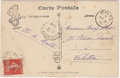 1901 FRENCH post office in ALGERIA post card to MALTA