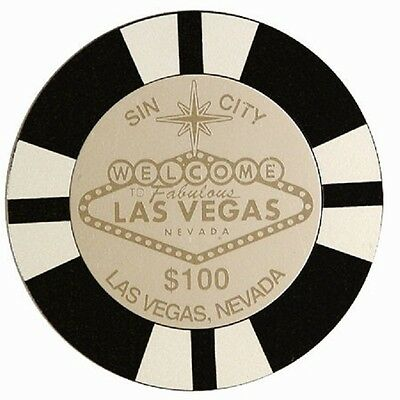 Las Vegas Sign Casino Poker Chip Coasters Set of 4 Black $1000 Sin City Drink