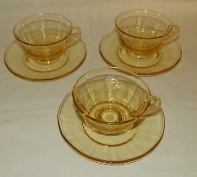 3 Fostoria Crystal Fairfax Topaz Yellow Glass Cup and Saucer Sets Free Ship