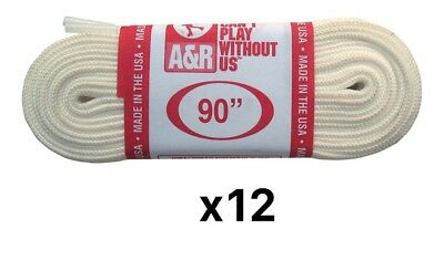 A&R Sports Figure Skate Replacement Laces - White 90 Inches (12-Pack)