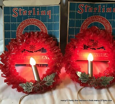 2 IOB Sterling Electric Red Vinyl Christmas Wreaths Lighted Candles & Foil Trim