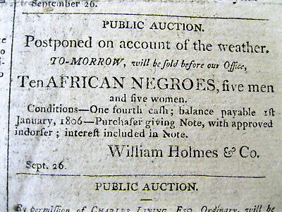 1804 CHARLESTON South Carolina newspaper with AFRICAN NEGRO SLAVES FOR SALE ad