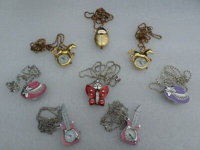Job Lot 8x Various Necklace Watch - Ladybug Butterfly Horse Hat Guitar Watches