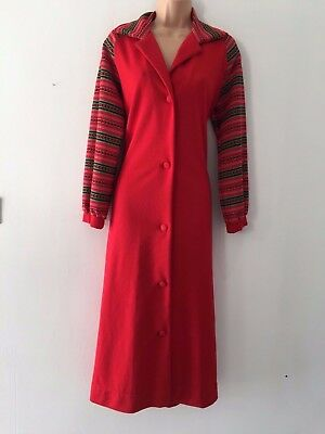 Vintage 70's Red & Green Stripe Jersey Fabric Dressing Gown House Coat Size 14
