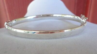 "STERLING SILVER POLISHED HINGED BANGLE BY SILVER STYLE 8""  7.7g  GREAT GIFT!"