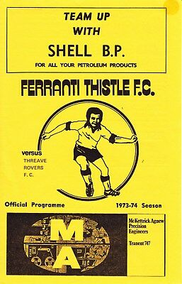 FERRANTI THISTLE v Threave Rovers, 1973/74, Scottish Qualifying Cup South