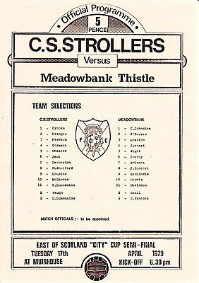 CIVIL SERVICE STROLLERS v Meadowbank Thistle, 17th April 1979, City Cup semi f