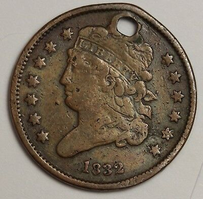 1832 Half Cent.  Holed Fine Detail.  117602