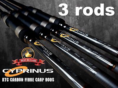 BRAND NEW Cyprinus XTC Graphite Carp Fishing Rods 12' 3lb Set Of 3 RRP £300