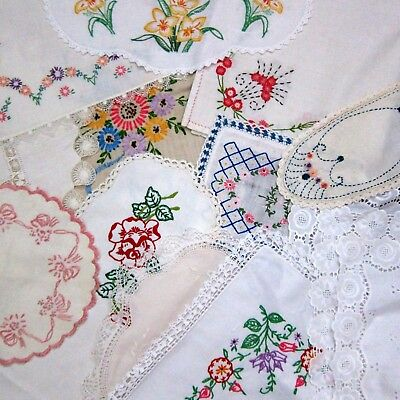 Lg Lot of 11 Vintage Embroidered & Lace Linens ~ Runners, Tablecloths, Doilies