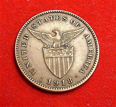 Philippine----1918-S One Centavos Coin--Nice Coin---free ship
