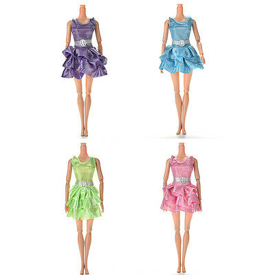 Handmake Mini Vest Dress for Barbie doll with Belt 4 Colors TO