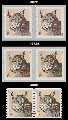 4672 4672a 4802 Bobcat 1c Pair Set of 3 Complete American Wildlife MNH - Buy Now