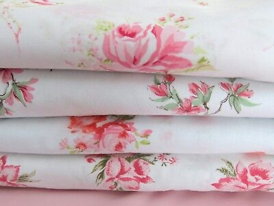 Lot of 4 Vintage Pink Roses Sheets and Fabrics