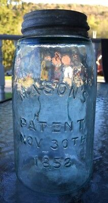 MASON'S PATENT Nov 30th 1858 Shield On Reverse Blue Antique Fruit Jar Quart