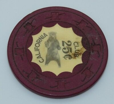 California Club 25¢ Casino Chip Las Vegas Nevada H&C CJ 1960's FREE SHIPPING