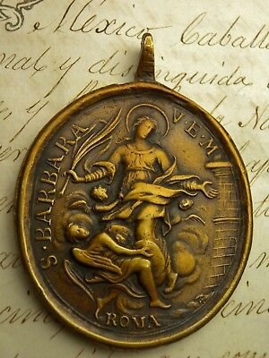 Antique 18th Century Catholic Immaculate Conception & St. Barbara  Bronze Medal
