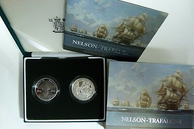 2005 PIEDFORT Silver Proof Nelson Trafalgar 2 x £5 Crown Coin Royal Mint cased