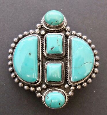 Vintage Turquoise In Sterling Silver Belt Buckle With Rope Trim And Beaded Edges