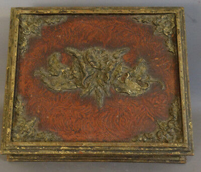 Ca.1910 Antique ART NOUVEAU Gesso FLOWER Old WOOD Floral LADIES DRESSER BOX