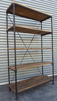 New French Industrial Recycled Vintage Rustic Bookcase Shelf Display (111-583)