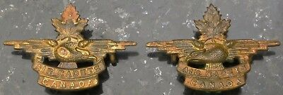 Air Cadets Canada - Old WW2 Eagle & Maple Leaf Style Pair of Brass Collar Badges