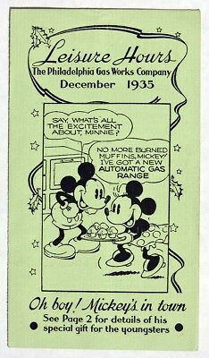 S744 Philadelphia Gas Works Co. Pamphlet MICKEY MOUSE MAGAZINE ORDER FORM 1935 [