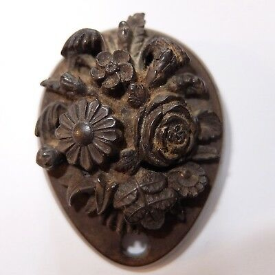 Antique Victorian Vulcanite Mourning Flower Pin