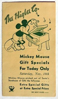S746 The Higbee Co. Century of Progress Toytown MICKEY MOUSE GIFT SPECIALS 1933[