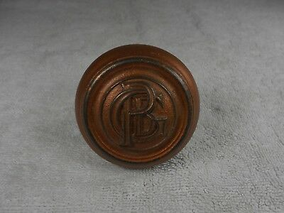 Vintage Ornamental Ornate Door Knob with Initials Lettering P G B